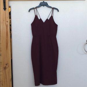 Keepsake Skinny Love Burgundy Midi Dress
